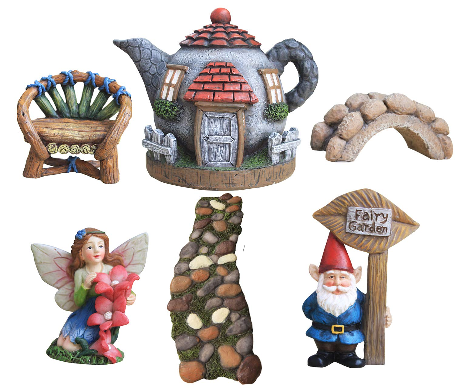 LA JOLIE MUSE Fairy Garden Accessories Kit 6pcs, Gnome&Fairies Statues, Hand Painted Miniature Figurines House Set