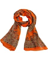 Impression Long Foulard - SODIAL(R)Femmes De Mode De Dame Douce a Long Foulard En Mousseline De Soie Wrap etole De Chale Foulards, Orange