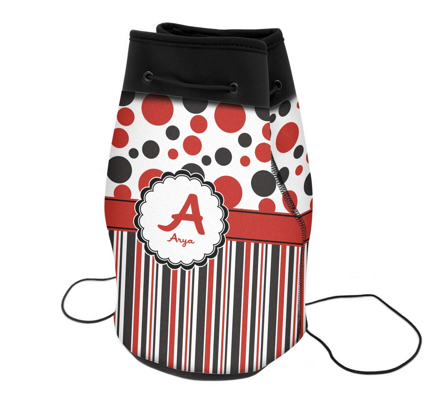 Red /& Black Dots /& Stripes Neoprene Drawstring Backpack Personalized