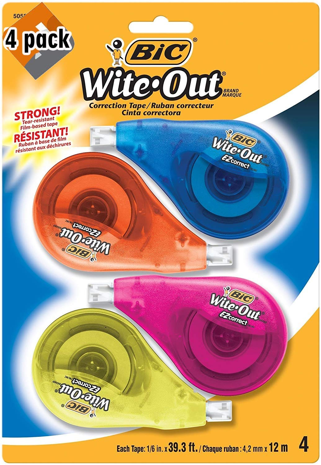 BIC Clean Wite-Out Brand EZ Correct Correction Tape, 4-Count, 5.25 x .75 x 8.125 (WOTAPP418-WHI), 4 Pack by BIC