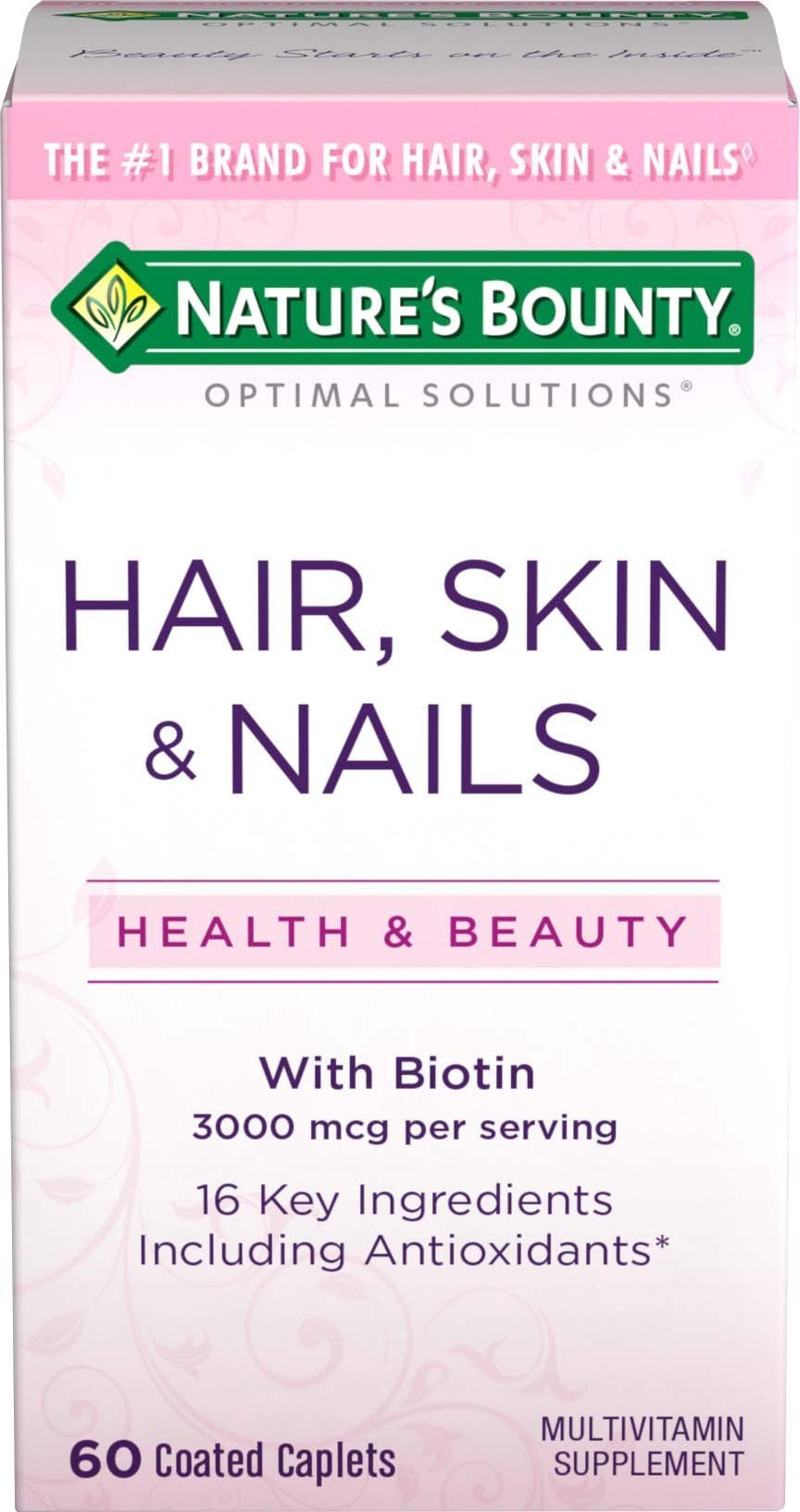 Nature's Bounty Optimal Solutions Hair, Skin & Nails Formula, 60 Coated Caplets