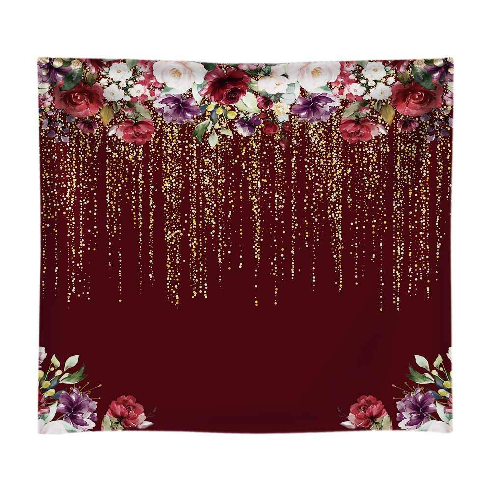 Funnytree 8x8ft Durable Fabric Burgundy Red Flowers Backdrop No Wrinkles Golden Glitter Floral Birthday Party Photography Background Bridal Shower Wedding Girl Adults Decorations Banner Photo Studio by Funnytree