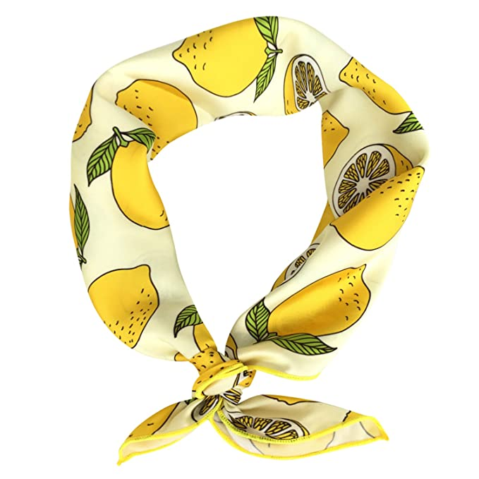 Vintage Inspired Scarves for Winter GERINLY Womens Neckerchief - Yellow Lemon Print Square Hair Scarf Headband  AT vintagedancer.com