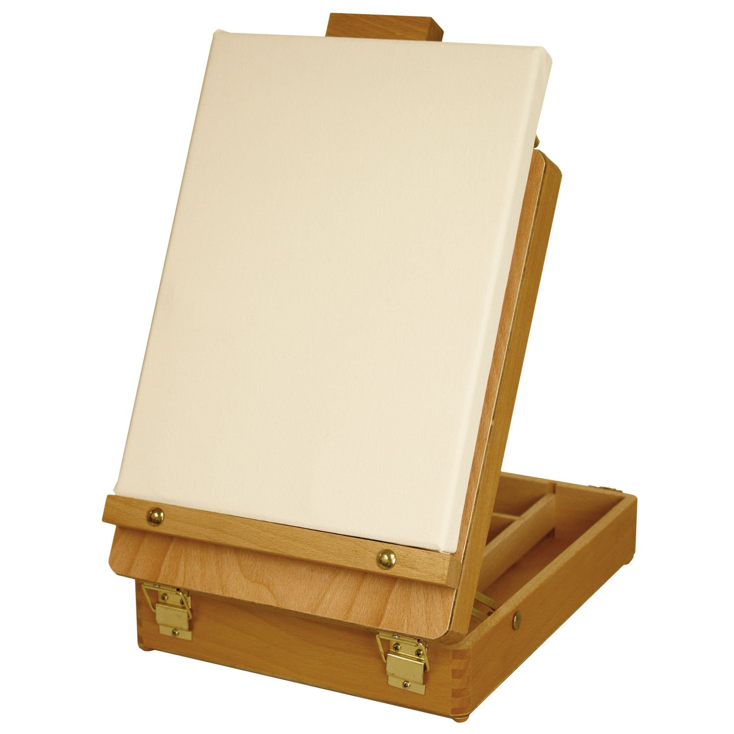 Amazon.com: US Art Supply Newport Small Adjustable Wood Table Sketchbox  Easel   Desktop Artist Easel   Wooden Portable Compact Stand   Student  Drawing ...