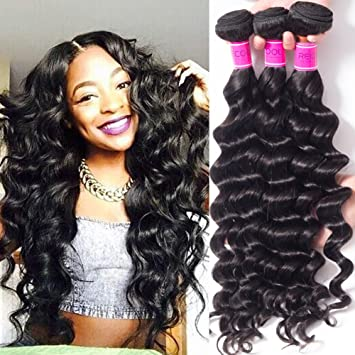 Amazon.com   RECOOL Brazilian Hair Loose Deep Wave 4 Bundles Deals Wavy  Human Hair Extensions Loose Curly Cheap Bundles of Hair for Sale Natural  Color(24 26 ... 0d31a7bf6501