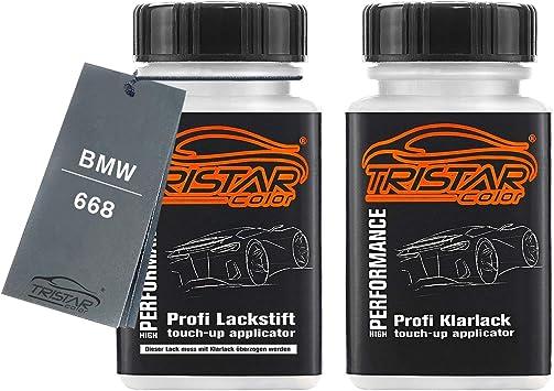 Tristarcolor Autolack Lackstift Set Für Bmw 668 Jet Black Basislack Klarlack Je 50ml Auto