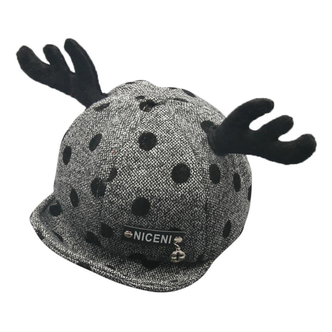 LNGRY Baby Boy Girl Winter Warm Christmas Antlers Cotton Hat Children Print Hat