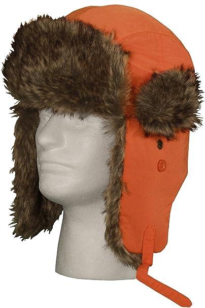 Winter Aviator Faux Fur Trooper Trapper Hat (Orange 5213cfe2628