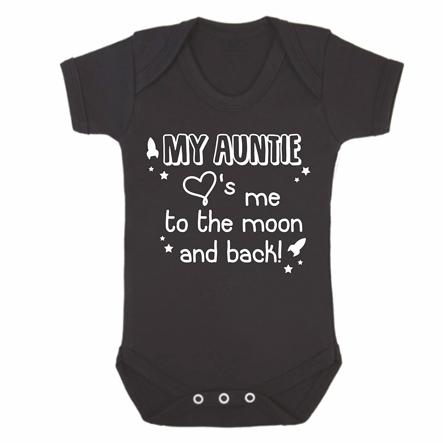 Bullshirt's My Auntie Loves Me To The Moon And Back Babygrow (3-6 Months, Pink)