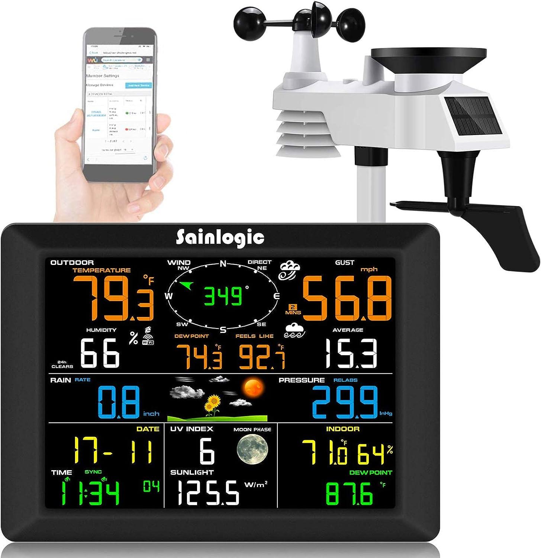 Sainlogic Professional WiFi Weather Station, Internet Wireless Weather Station with Outdoor Sensor, Rain Gauge, Weather Forecast, Wind Gauge, Wunderground