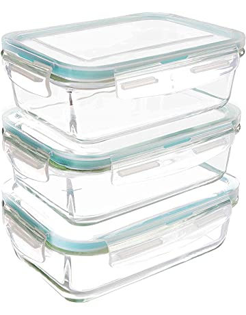 Utopia Kitchen Recipiente - Contenedor de Almacenamiento de Alimentos de Vidrio - 6 piezas (3