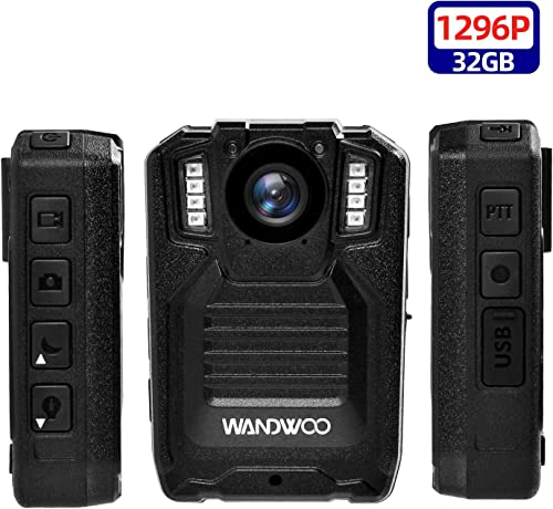 1296P Police Body Camera, Wandwoo Body Worn Camera for Police with 32GB Memory Infrared Night Vision Wide Angle IP66 Waterproof Photo Video Audio Recorder 2inch Display for Law Enforcement Police