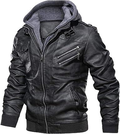 Mens Detachable Hooded Leather Jacket Bomber Zip Designer Casual Coat Black NEW