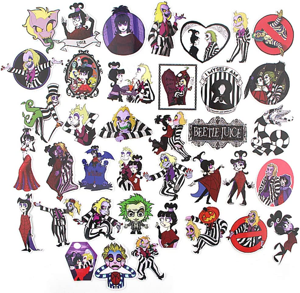 Amazon Com Horror Beetlejuice Themed 35 Piece Character Sticker Decal Set For Kids Adults Laptop Motorcycle Skateboard Decals Computers Accessories
