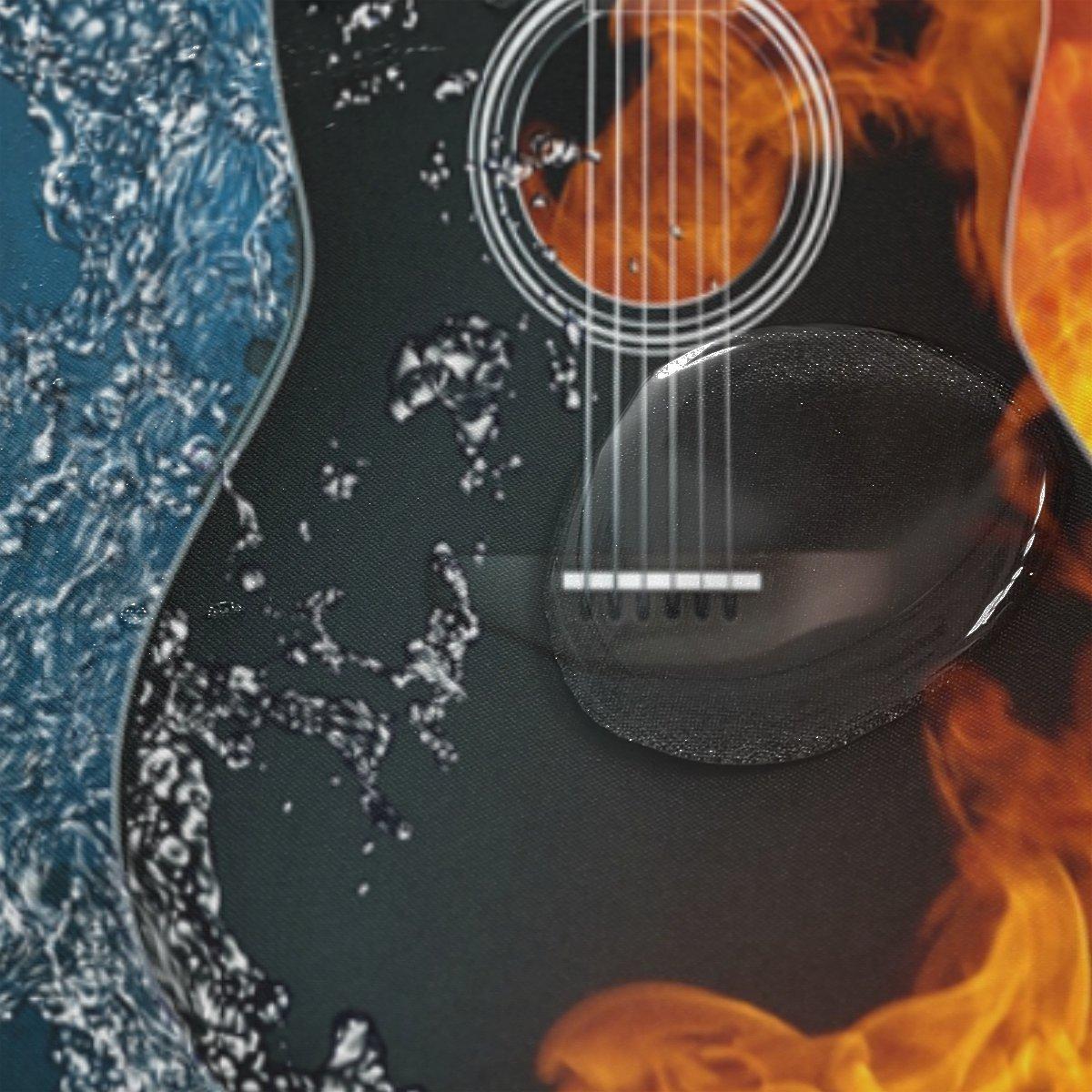 COOSUN Guitarra eléctrica del Fuego y del Agua Cortina de Ducha Set de Tela de poliéster Repelente al Agua de baño Cortina de Ducha Decoración del hogar con ...