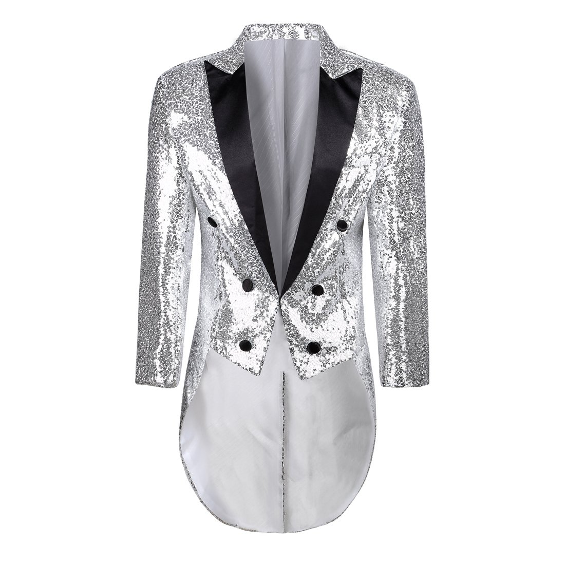 PYJTRL Mens Fashion Colorful Sequins Tailcoat Tuxedo (Silver, S/38R) by PYJTRL