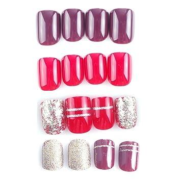 Amazon.com: Siusio - Juego de 96 uñas falsas coloridas, 4 ...