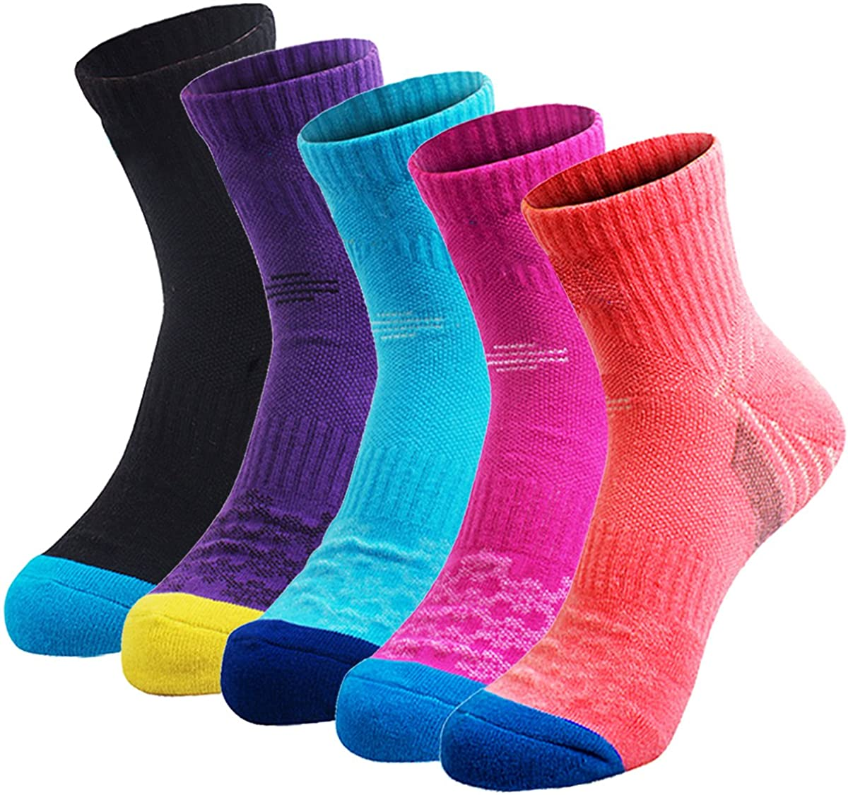 Veatree 5 Pairs Women's Hiking Socks, Multi Performance Mid-Cushion Trekking/Running/Camping Outdoor Crew Socks for Women