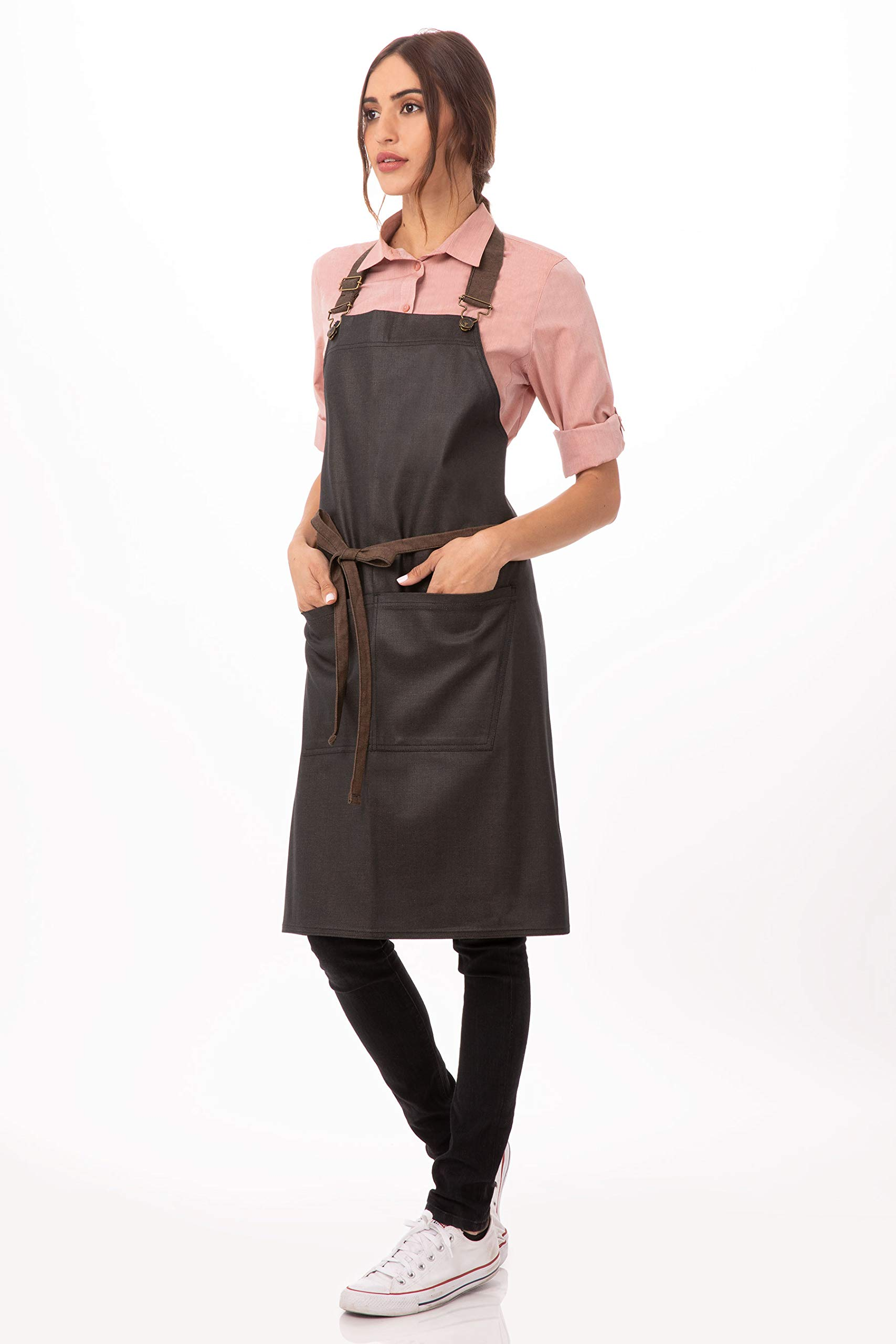 Chef Works Unisex Boulder Bib Apron, Brown/Black, One Size by Chef Works