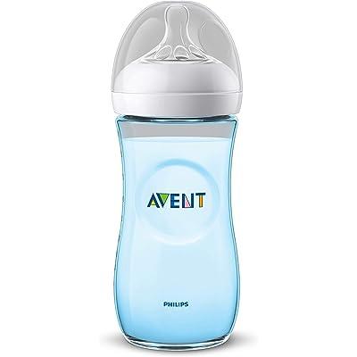 Philips Avent Biberón Natural SCF038/17 - Biberón de 330 ml con tetina con flujo para recién nacidos, diseñada para imitar el tacto del pecho, 0% BPA, 6m+, color azul