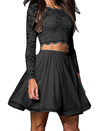 Gricharim Short Lace Prom Dresses 2018 for Juniors Two Piece Homecoming Dresses with Long Sleeves US2