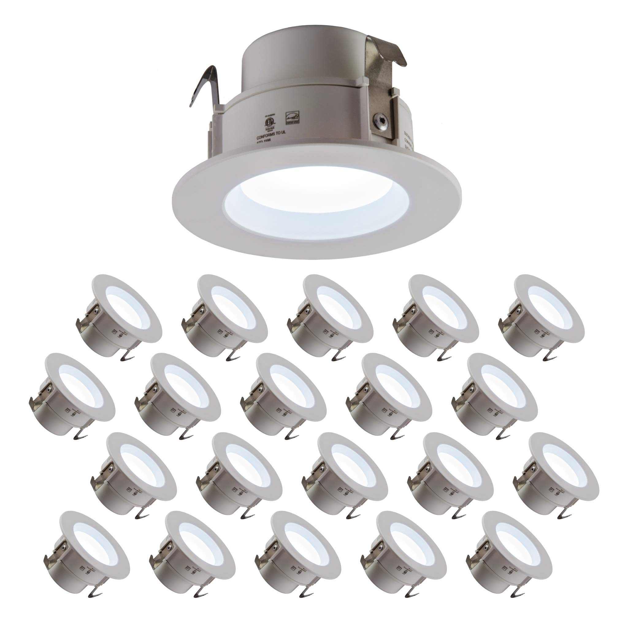 LED 4'' Downlight 10W, 120V, 665 Lumens, CRI>90, Dimmable, Energy Star, Title 24, JA-8 Compliant and UL Listed; 5 Year Warranty; E26 Base Orange Connector; Day Light 5000K- (20 Pack)