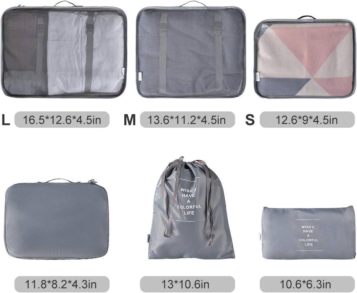 Hivexagon 6 Pcs Bagages Emballage organiseurs Cubes demballage pour Le Voyage Gris AC007GY