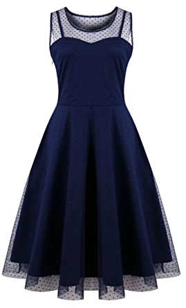 3afe4f645e2 KILOLONE Womens 50s Plus Size Dresses Christmas Party Vintage Retro  Bridesmaid Evening Lace Sleeveless Cocktail Dress