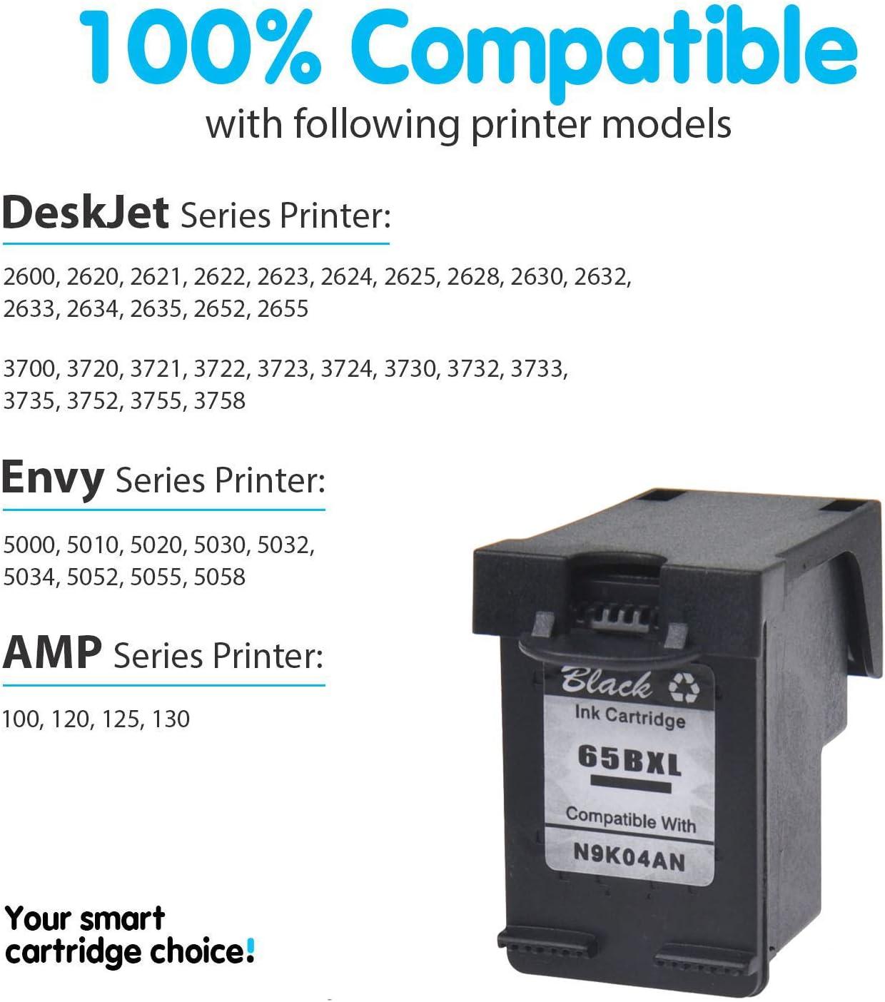 8PK Black Ink Cartridge Compatible for HP 65XL Deskjet 3733 3752 3755 3758 2655