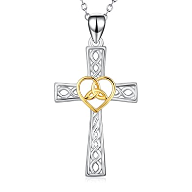 925 Solid Sterling Silver Celtic Cross Star Pendant with Sterling Silver Chain - An Ancient Symbol of Love - Gift Boxed WOTqzZpS5Y