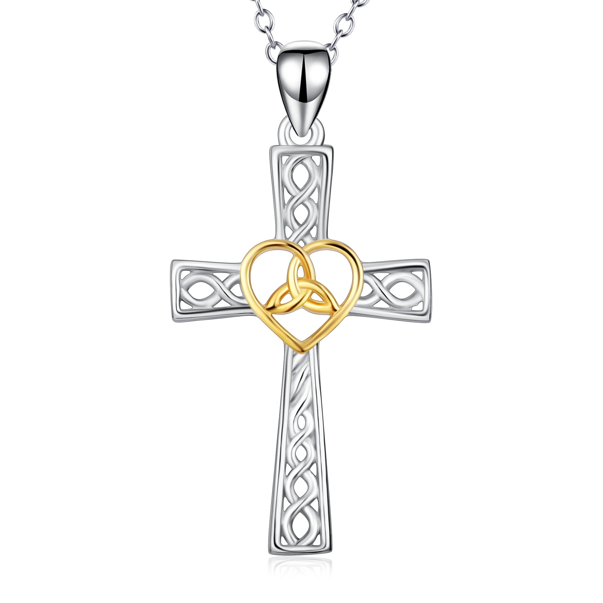 YFN Women Religious Jewelry 925 Sterling Silver Two-tone Eternal Love Heart Celtic Knot Cross Pendant Necklace (Cross style 1) by YFN
