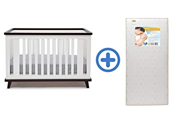 Delta Children Ava 3-in-1 Convertible Crib, White/Black Espresso with
