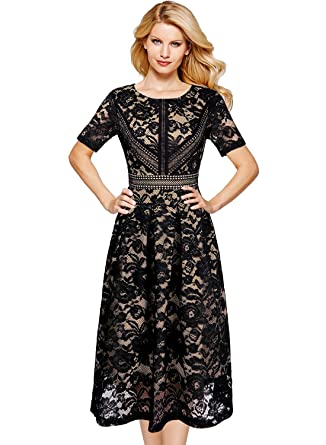 3758d2abead0 VFSHOW Womens Black and Beige Floral Lace Pleated Cocktail Wedding Party  A-Line Dress 2570