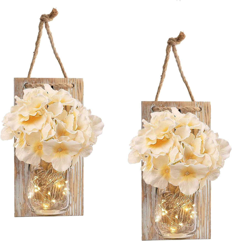 RBHK 2 Pack Mason Jar Sconces for Wall Decor with LED Fairy Lights, Decorative Chic Hanging House Decor Mason Jars, Silk Hydrangea, 6-Hour Timer, Home Decor