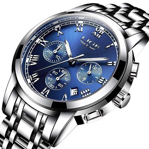 LIGE Relojes Hombre,Moda Acero Inoxidable Deportes Analógico Cuarzo Reloj Lujo Negocios Fecha Cronógrafo: Amazon.es: Relojes