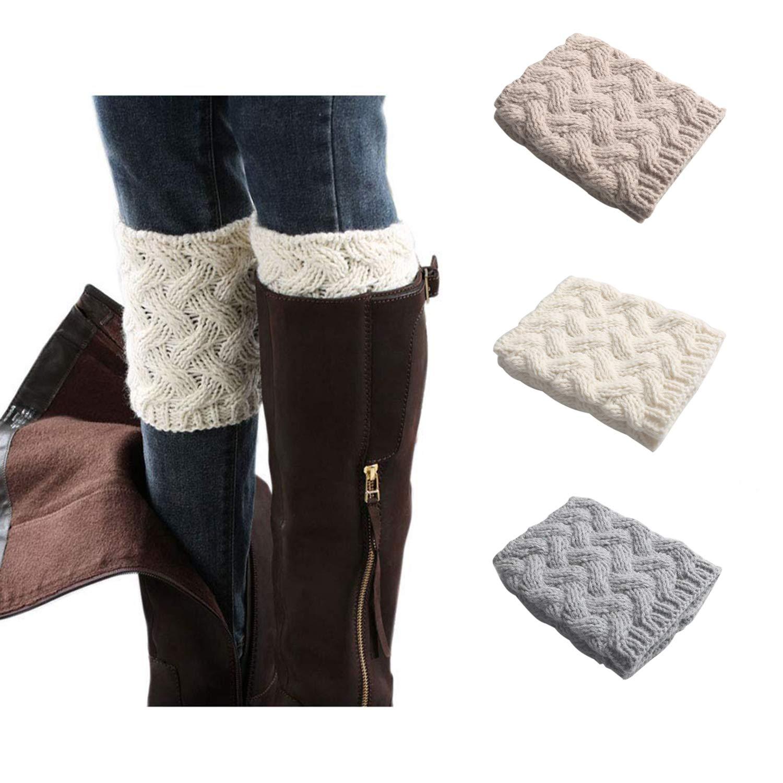 3 Pairsstyle B Kaariss Women Winter Warm Crochet Knitted Boot Cuff Sock Short Leg Warmers