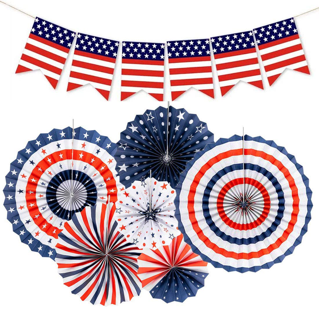 4th of July Patriotic Decorations American Flag Bunting Banner Red White Blue Hanging Paper Fans for Fourth of July Decor Independence Day Party Supplies