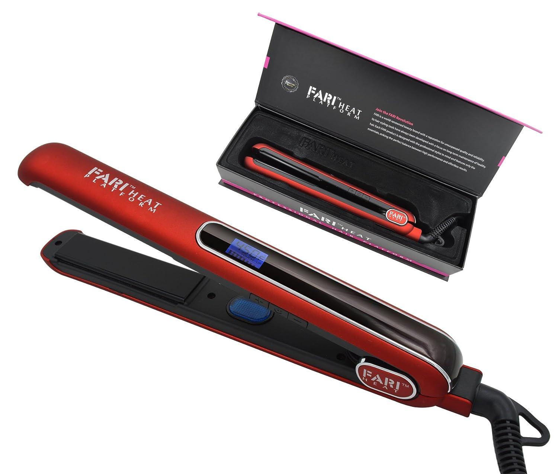 FARI Digital Professional Ceramic Tourmaline 1-Inch Floating Plate Hair Flat Iron, Swiftly reaches Max 450F(Red) FARISON