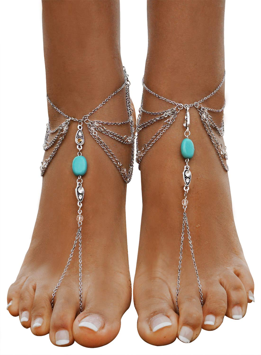 Bienvenu Beach Wedding Anklet Chain Tassel Turquoise Foot Chain 2 Pcs,Silver_Style 2