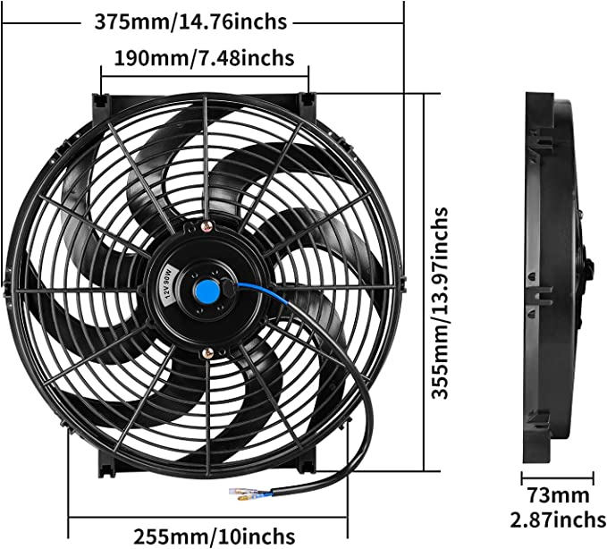 2 Packs Universal High Performance Reversible 2x12 Inch Electric Radiator Cooling Fan with Mounting Kit 1750 CFM/ 12 Volts 6.67 Amps/ 80 Watts