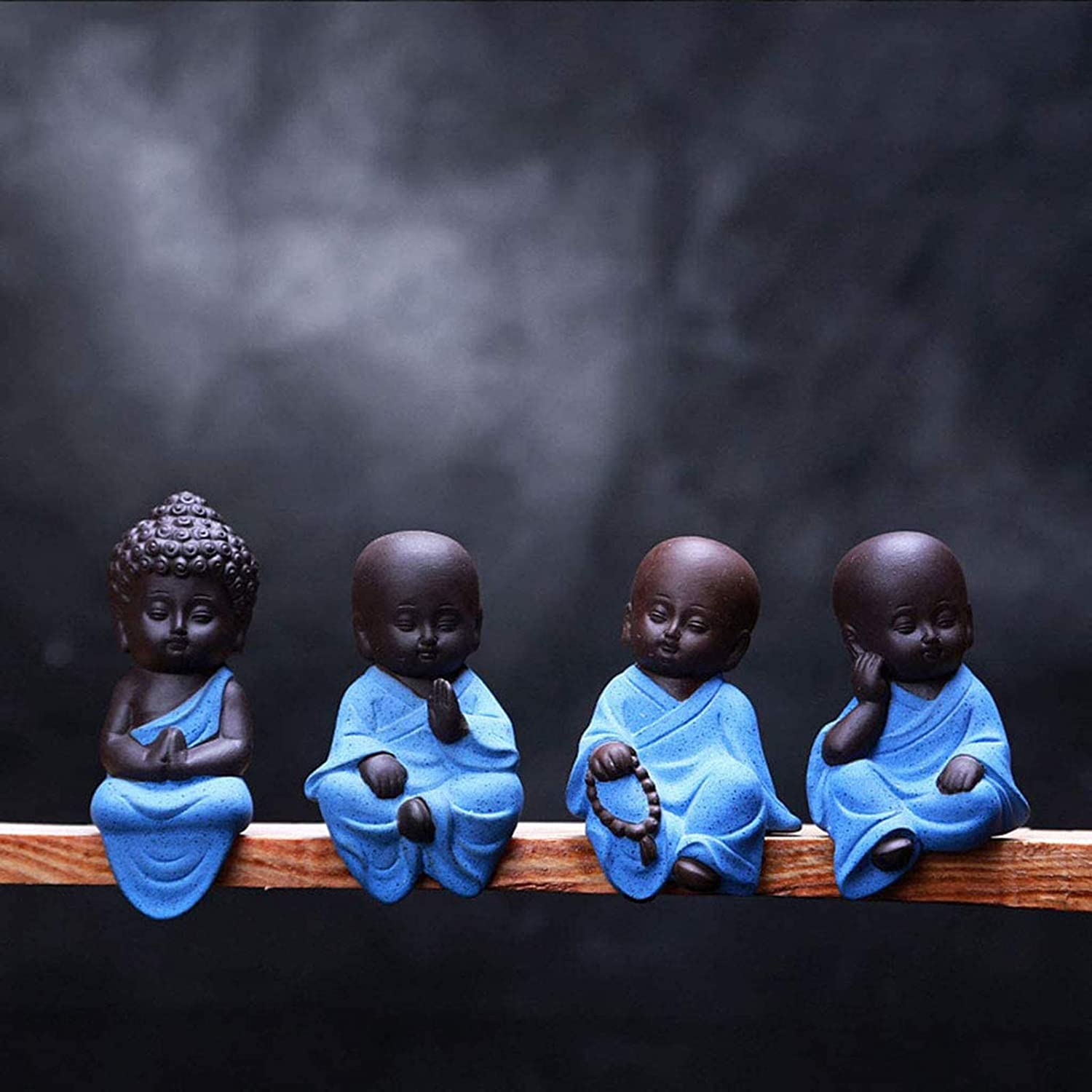 YUNDING Set of 4 Mini Sitting Lucky Buddha Ornaments,Home Decor Garden Ornaments,Indoor Or Outdoor Feng Shui Meditation Yoga Figurines,Little Monk Decor Tea Set Accessories(Color:A)