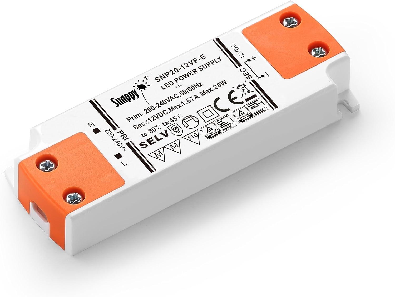 LIGHTEU, fuente de alimentación del transformador LED - 20W, 12V DC, 1.67A - Voltaje constante para las luces de tira del LED y las bombillas del LED G4, MR11, MR16