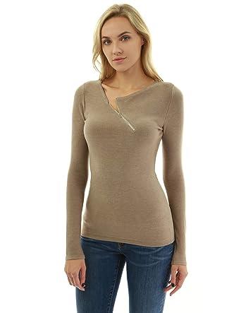PattyBoutik Damen Reißverschluss Pullover mit asymmetrischem Ausschnitt   Amazon.de  Bekleidung c627ffb4f0