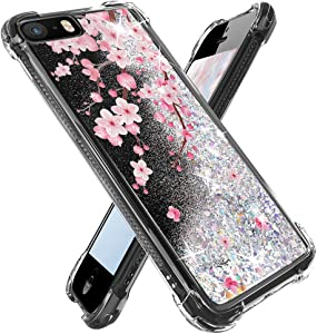 Miss Arts for iPhone se Case (2016),iPhone 5s Case, iPhone 5 Case, Girls Women Flowing Liquid Holographic Holo Glitter Shock Proof Case with Flowers Design for Apple iPhone SE/5S/5 -Cherry