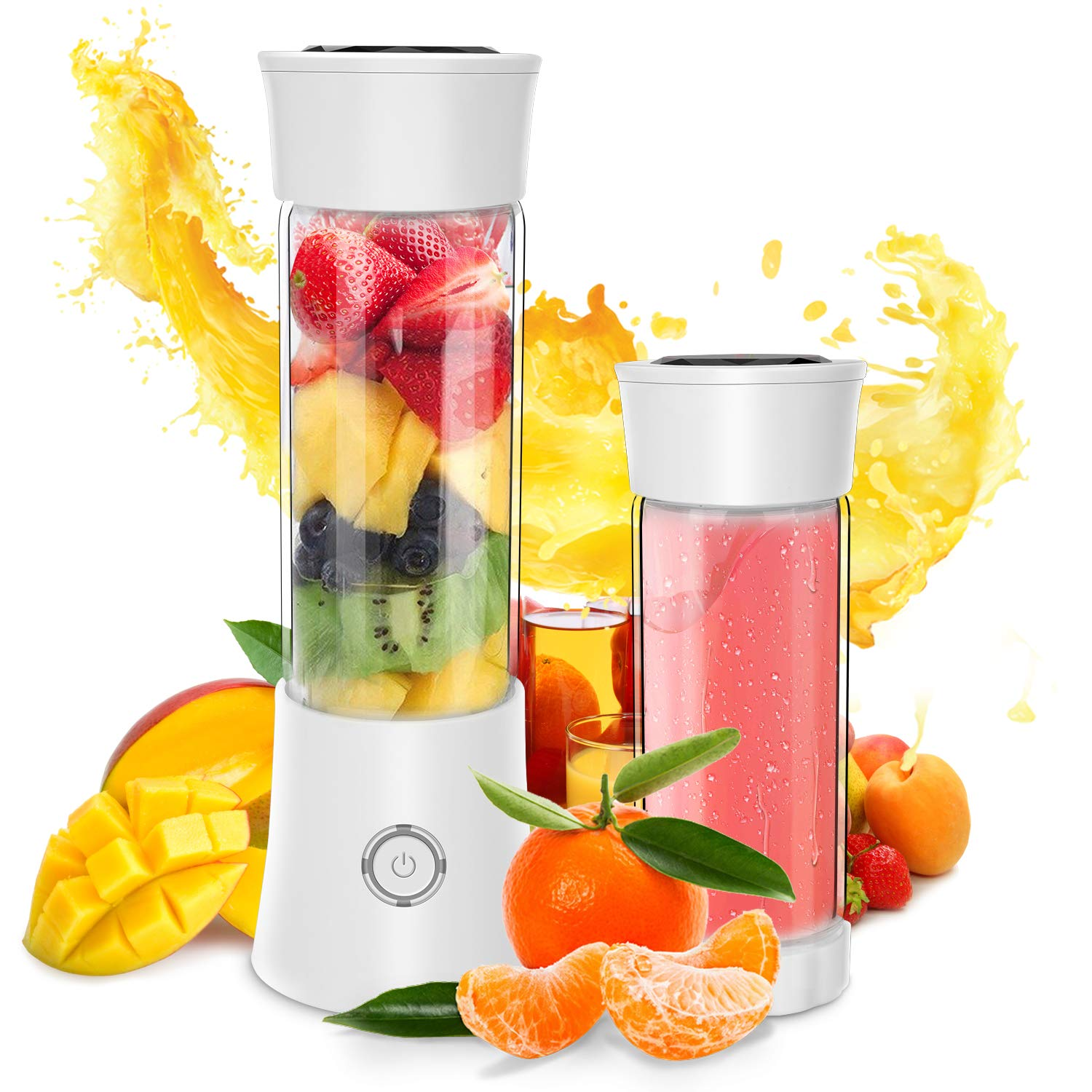 Portable Blender, Personal Smoothie and Shake Blender, Mini Blender, Electric Shaker Bottle with USB Rechargeable for Travel Outdoor and Home Kitchen FDA, BPA free