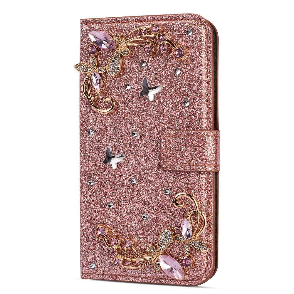 Amocase Glitter Case with 2 in 1 Stylus for iPhone XS Max,Luxury Diamond 3D Crystal Butterfly Flower Magnetic Wallet Soft PU Leather Stand Shockproof Case for iPhone XS Max - Rose God by Amocase
