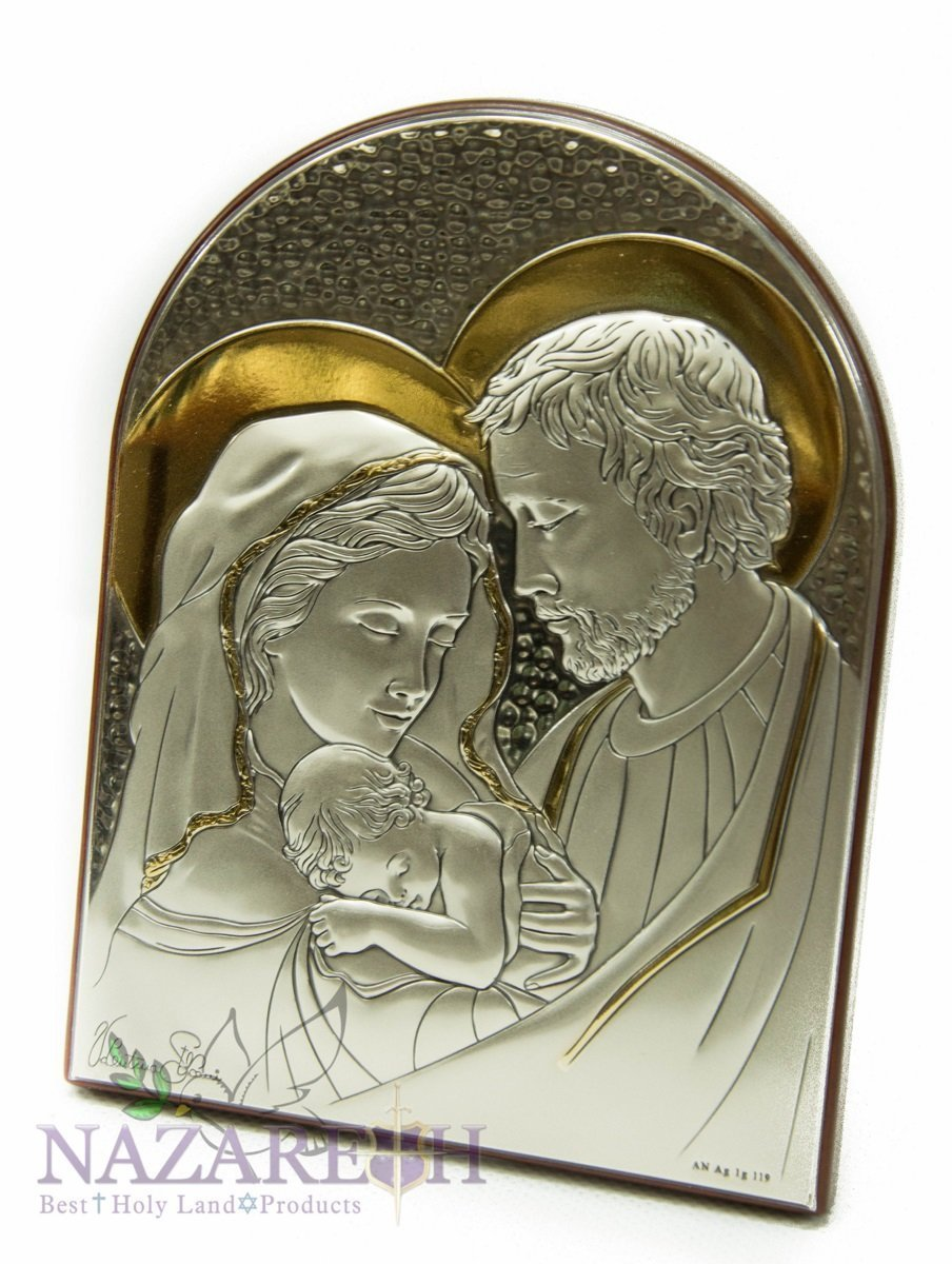 Holy Family Icon Italian Sterling Silver With Gold Holyland 6'' by Holy Land Gifts