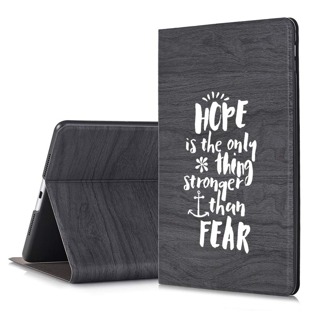 NickyPrints - iPad Pro 9.7用ブラックスリムツリーテクスチャデザイナースタンドケース - Hope is The Only Thing Stronger Than Fear Bible Verse Christian Quoteプリントフル保護カバー 2アングルスタンド付き   B07P1QL3Z8
