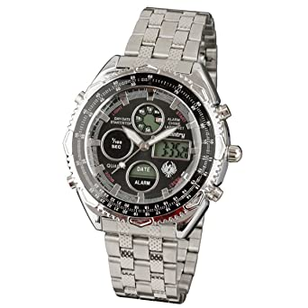 2634db0a68ca INFANTRY Mens Digital LCD Analogue Combi Wrist Watch Army Sport Date Day  Stopwatch Stainless Steel  Amazon.co.uk  Watches