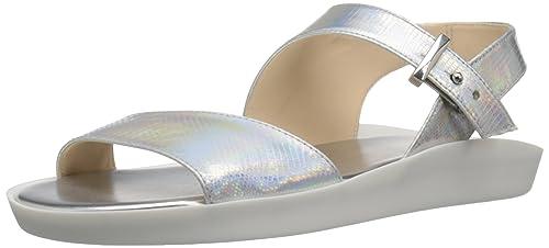 Nine West Womens IZARA Synthetic Dress Sandal, Silver, ...